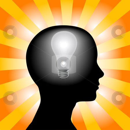 Idea Woman Mind Lightbulb In Silhouette Head On Rays Background Stock