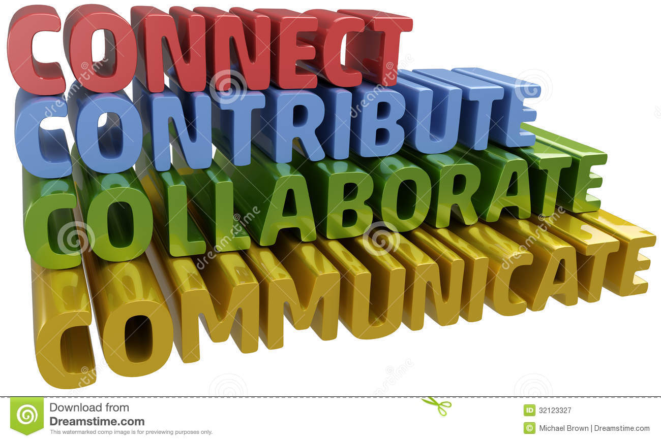 Lettter C Words Stack Up Collaboration Connection Contribution