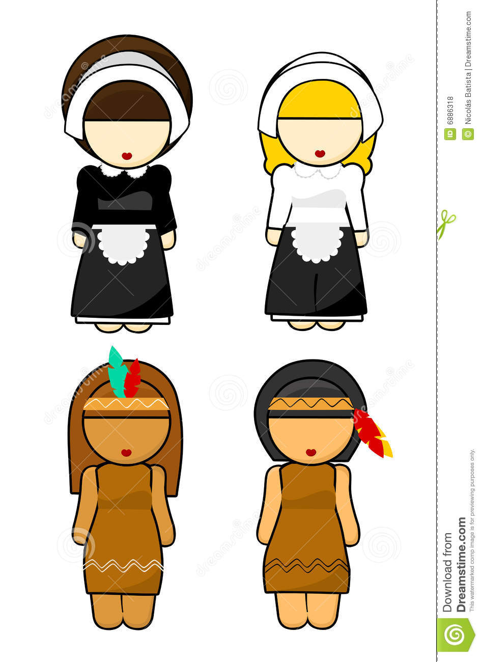 Thanksgiving Indians And Pilgrims Women Illustration On White