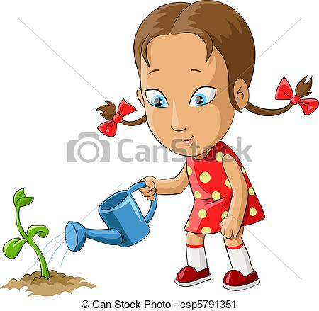 Vector Clip Art Of Girl And Flower   Girl Watering A Plant From