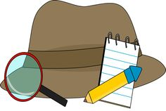 Detective Supplies Clip Art Image   Brown Detective Hat With A Notepad