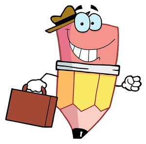 End Of Day Clipart Image   A Happy Cartoon Businessman Pencil Taking