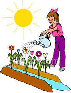 Garden Clip Art Child Watering A Flower Garden Royalty Free Clipart