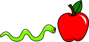 Inch Worm Clipart Image   Worm Inching His Way To A Red Apple
