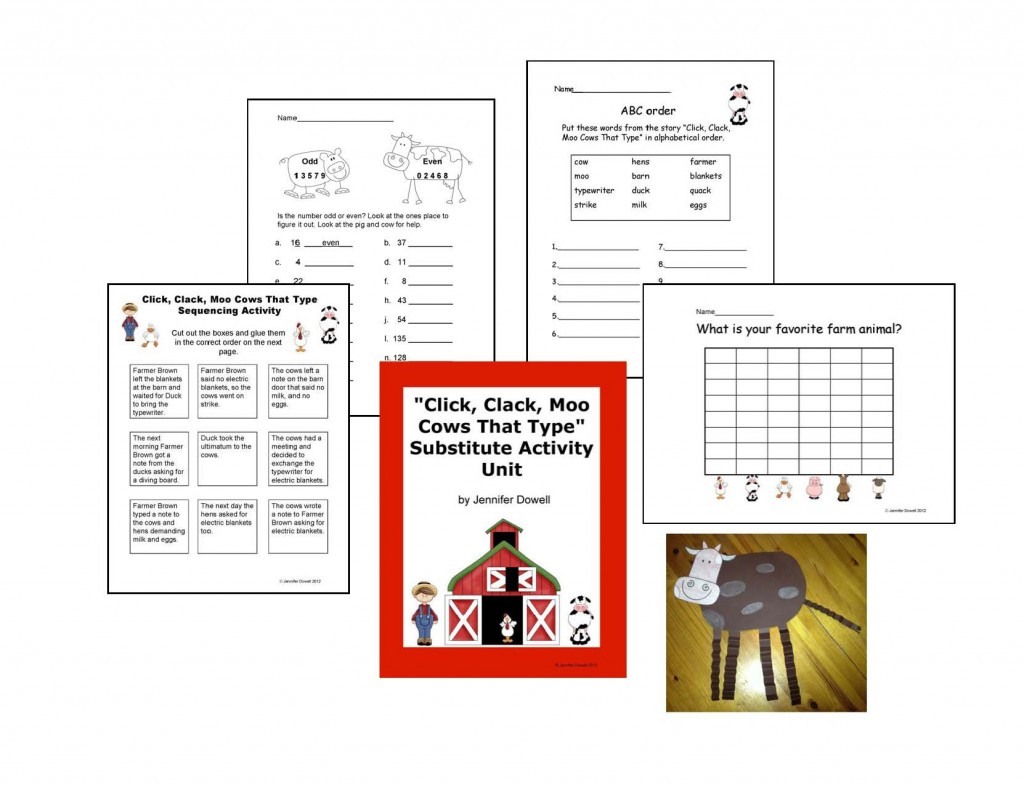 My Second Item Is My  Click Clack Moo  Substitute Lesson Plans