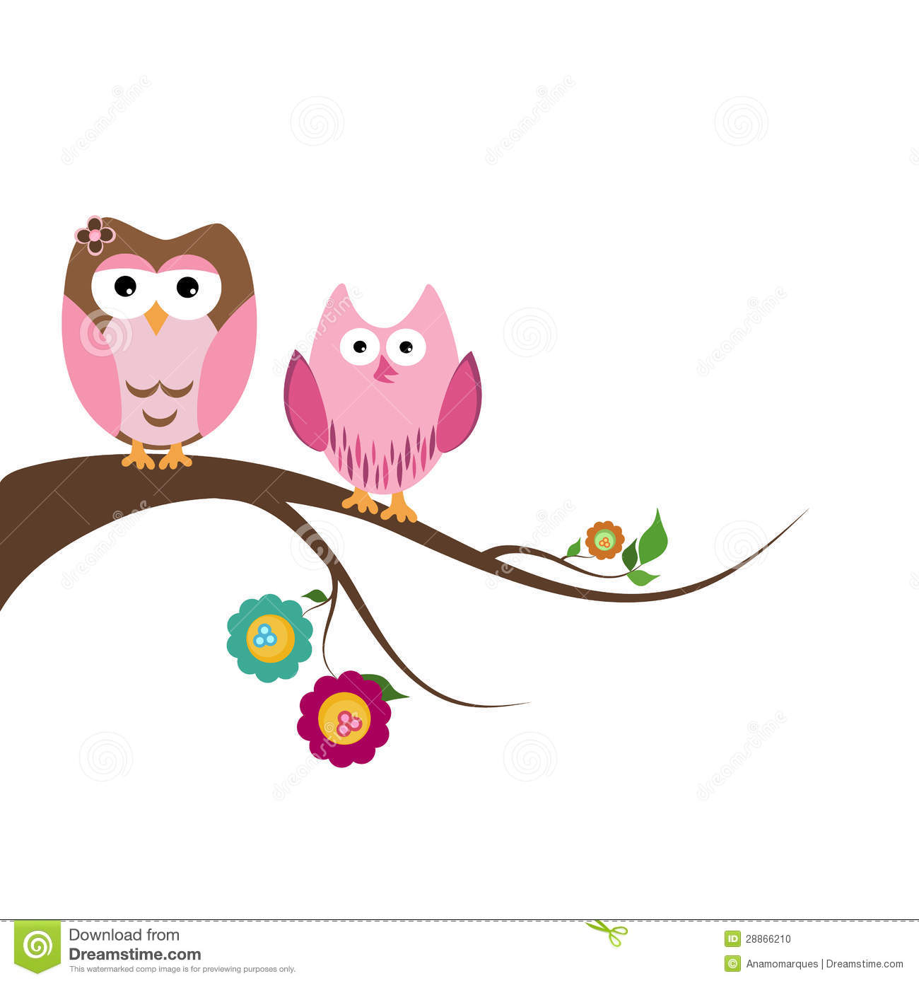Two Beautiful Owls Sitting On The Tree Branch