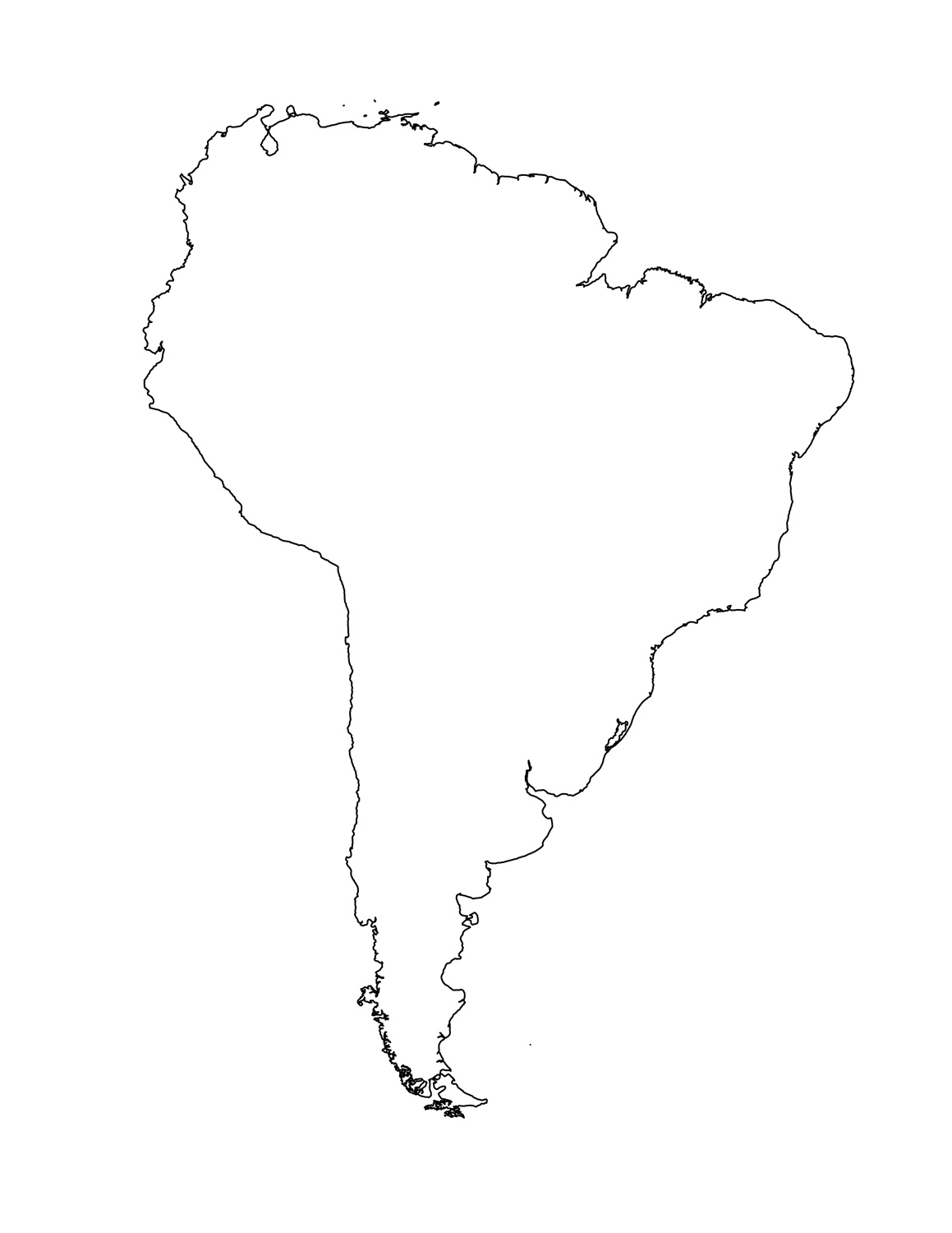 South America Outline Map Clipart - Clipart Kid