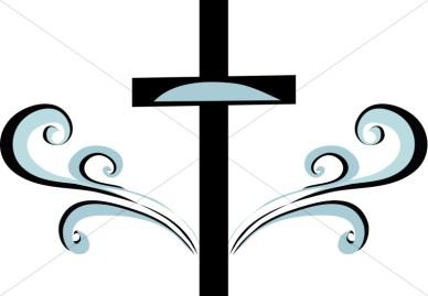 Blue And Black Swirl Cross Clipart   Cross Clipart