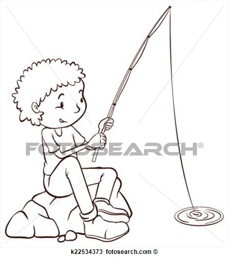 Clipart   A Simple Plain Sketch Of A Boy Fishing  Fotosearch   Search