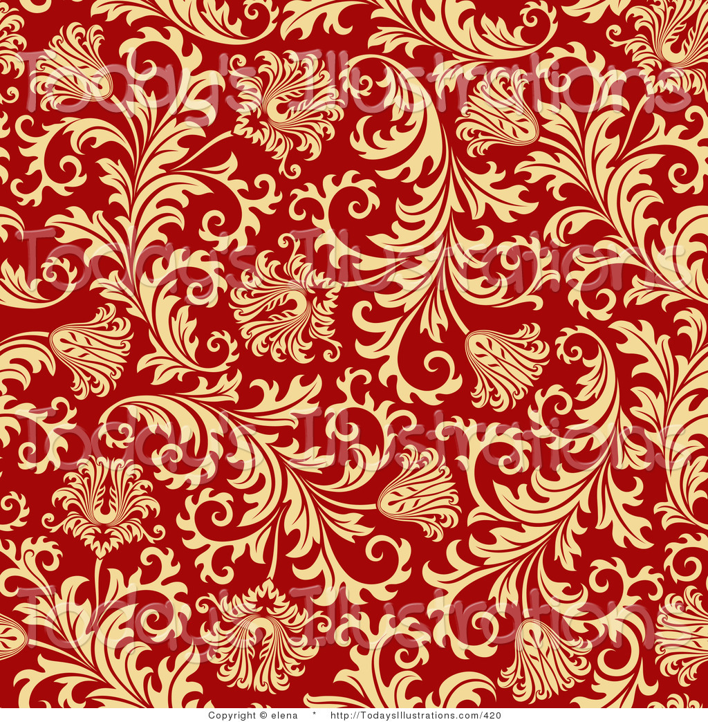 Clipart Of A Red Background With A Seamless Elegant Gold Floral Design