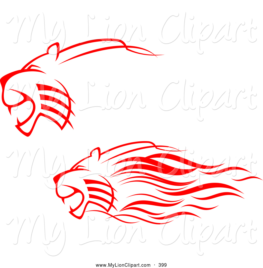 Clipart Of Tattoo Design Red Lions Attacking Digital Collage By