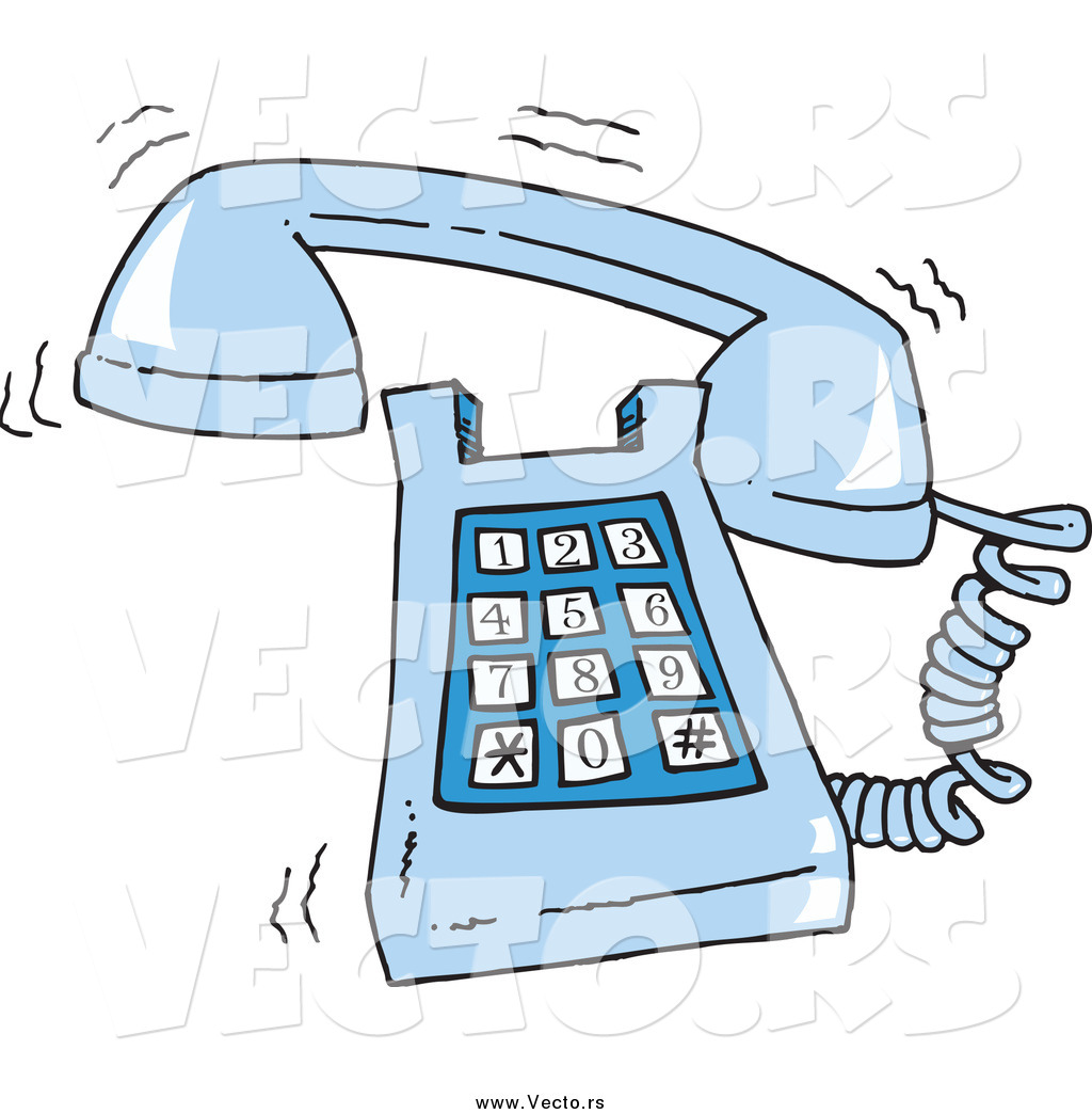 Larger Preview  Vector Of A Cartoon Ringing Blue Desk Phone By Ron