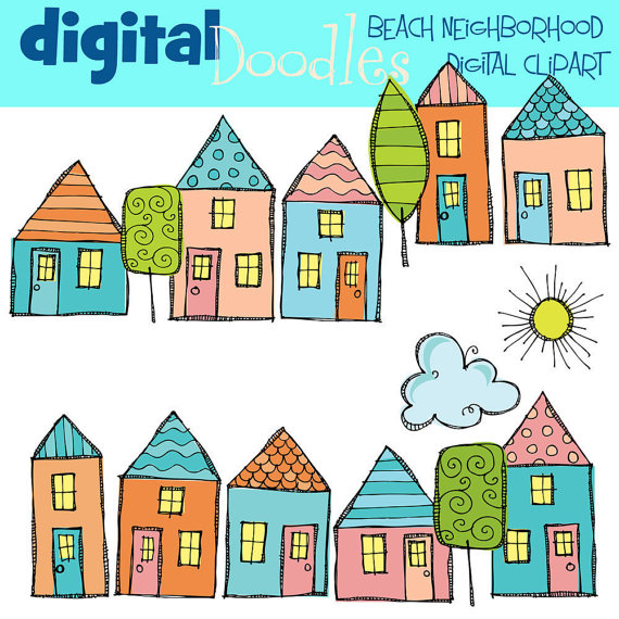 Little Beach Houses Digital Clipart
