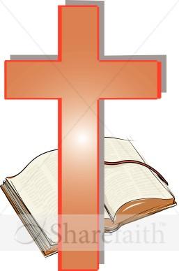 Orange Cross And Open Bible Clipart   Cross Clipart