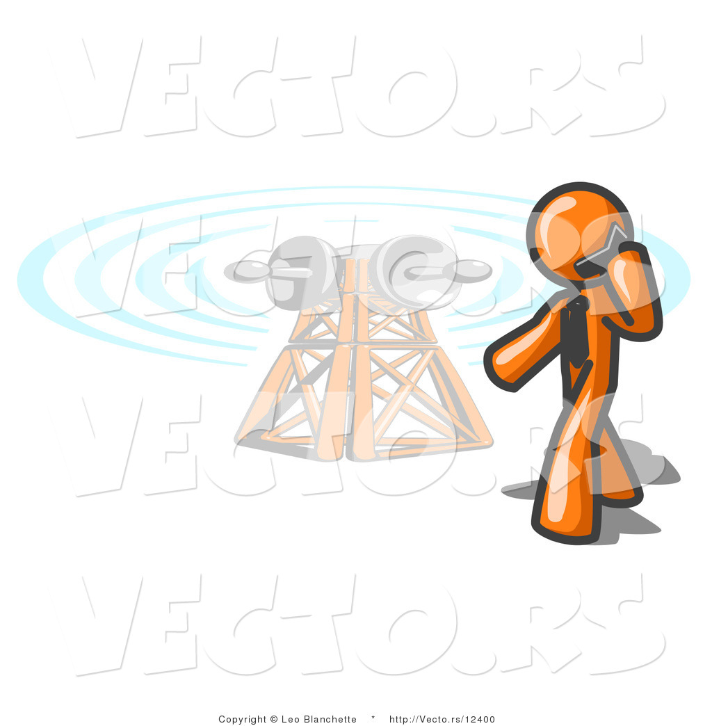 Orange Guy Talking On A Cell Phone A Communications Tower In The