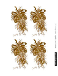 Pine Cones Christmas Cards 4 Up Vintage Digital Holiday Collage Sheet