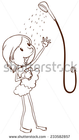 Plain Drawing Of A Young Girl Taking A Shower On A White Background