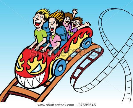 Roller Coaster Clipart Stock Vector Family Riding Roller Coaster