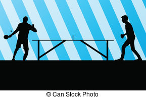 Table Tennis Player Silhouette Ping Pong Vector Background Stock