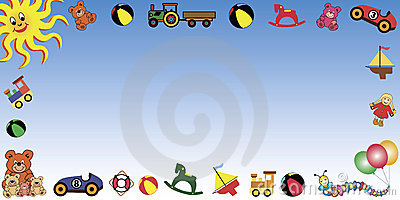 Background With Toys Border In Horizontal Format  Available As