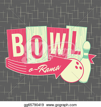 Clipart   1950s Bowling Style Logo Design   All Fonts Shown Are For
