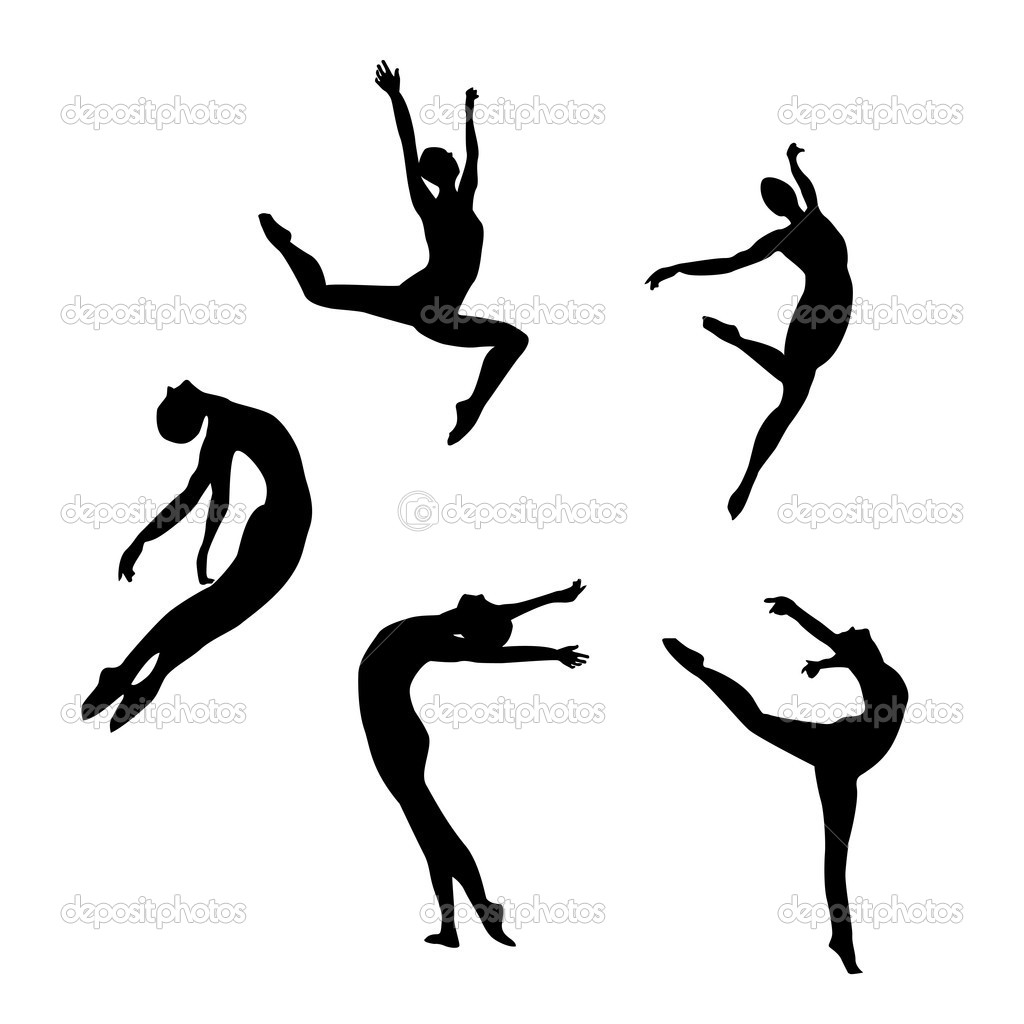 Modern Dance Silhouettes Clip Art