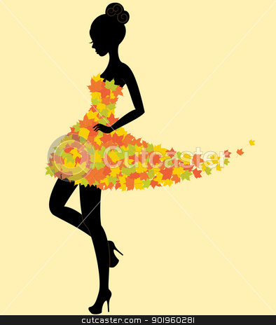 Clip Art Model Clipart fashion model clipart kid dancer girl in dress of autumn leaves stock vector silhouette