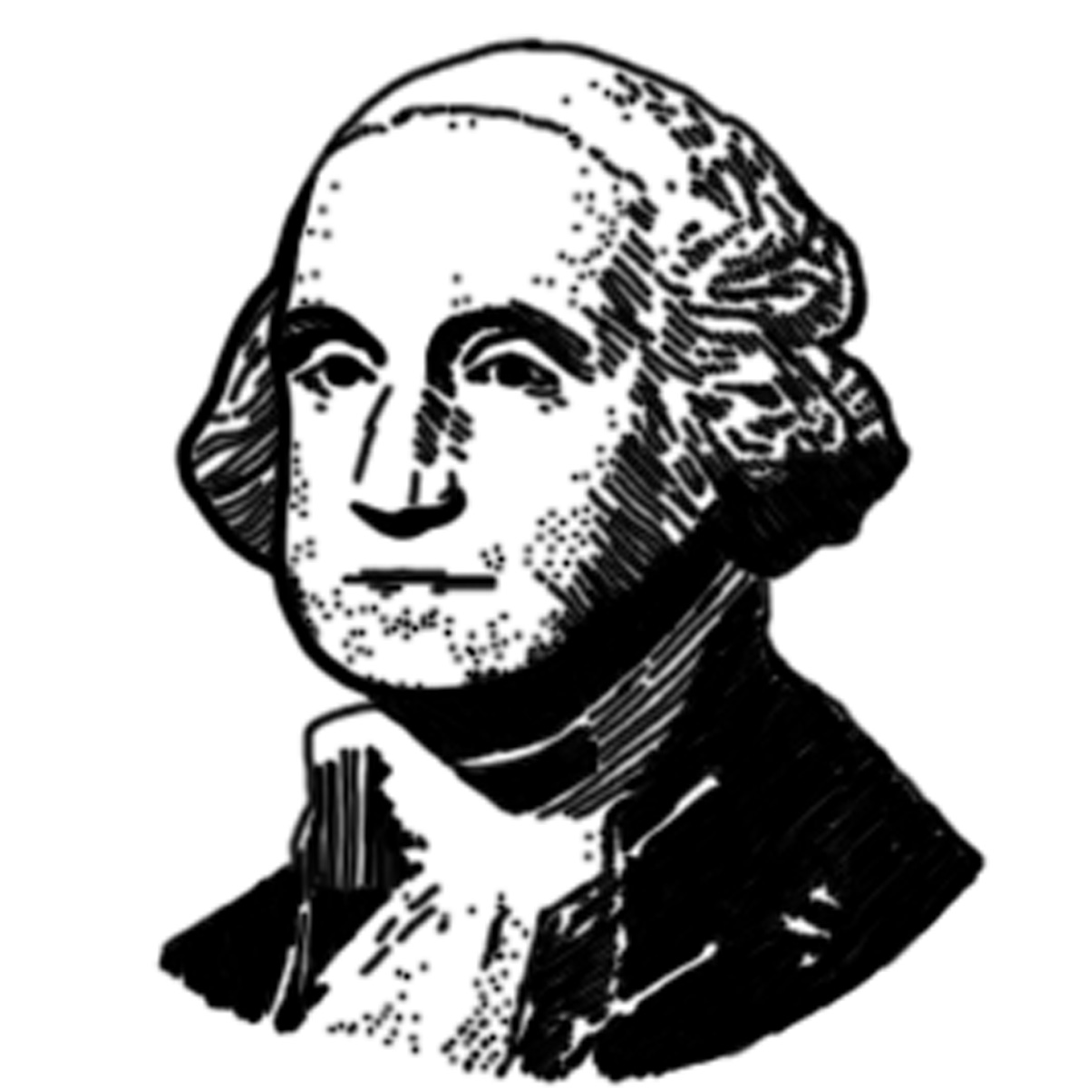 George Washington Portrait Clip Art In Black And White  Realistic