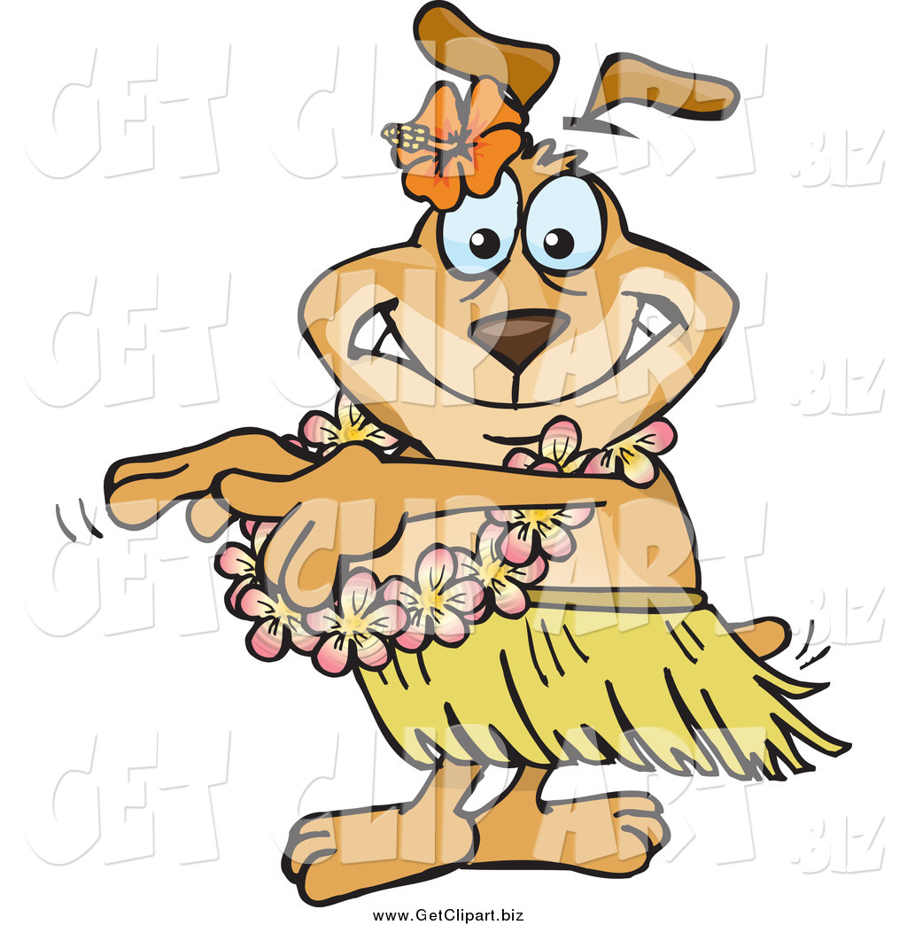Larger Preview  Clip Art Of A Hula Dancer Dog By Dennis Holmes Designs