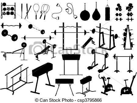 Vector   Gym Equipment Made In Vector Csp3795866   Search Clipart