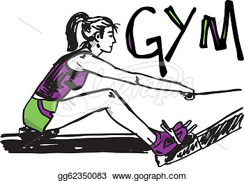Woman Exercising On Machines At Gym   Health Club  Vector Illustration