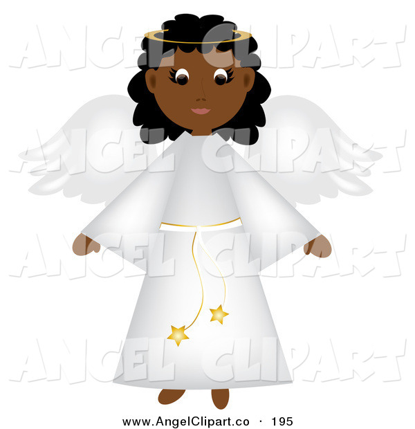 African American Christmas Angel In A White Robe By Pams Clipart