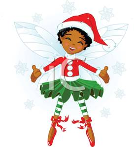 African American Christmas Fairy   Royalty Free Clipart Picture