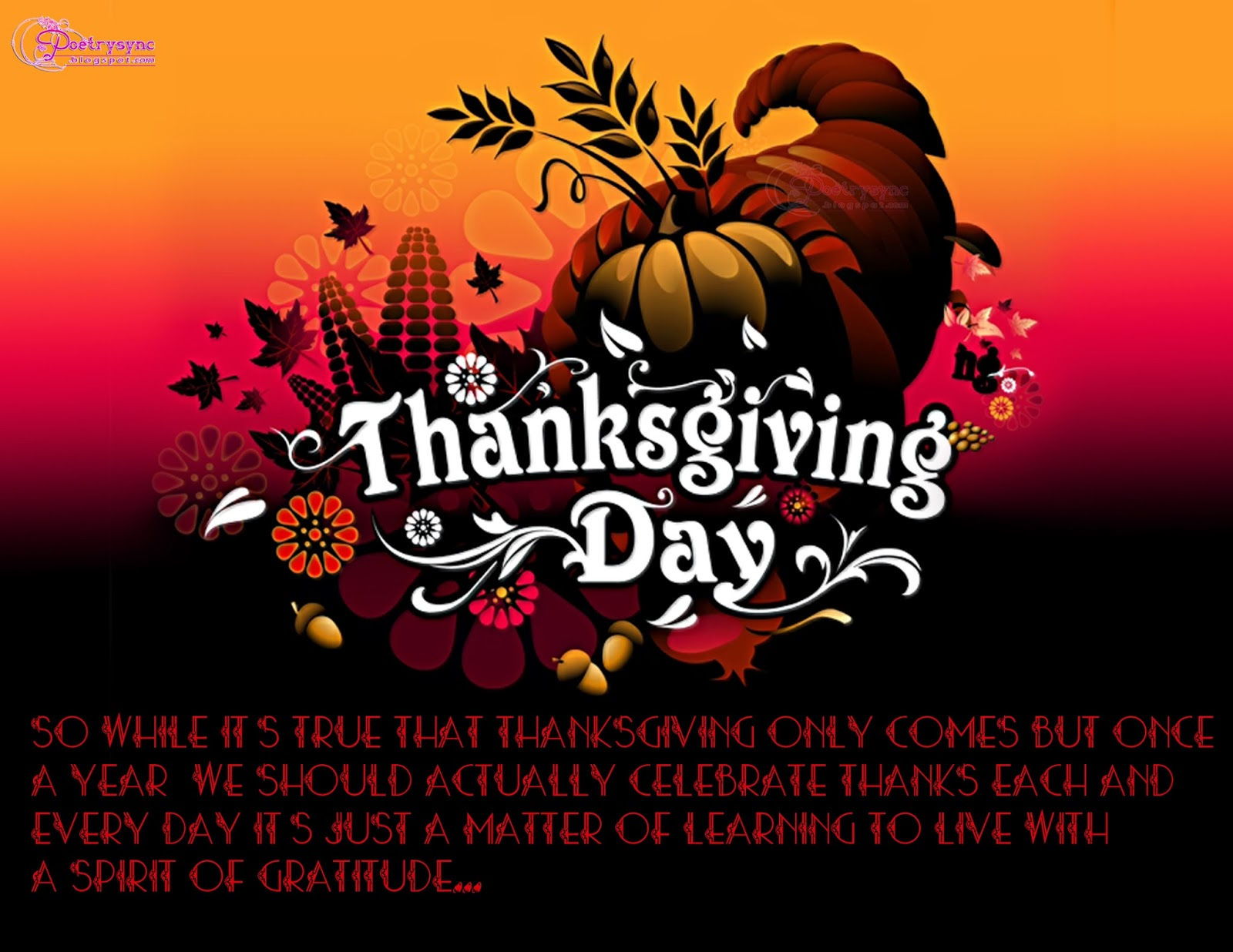 Happy Thanksgiving Food Greetings Card With Quote Card And Sayings For
