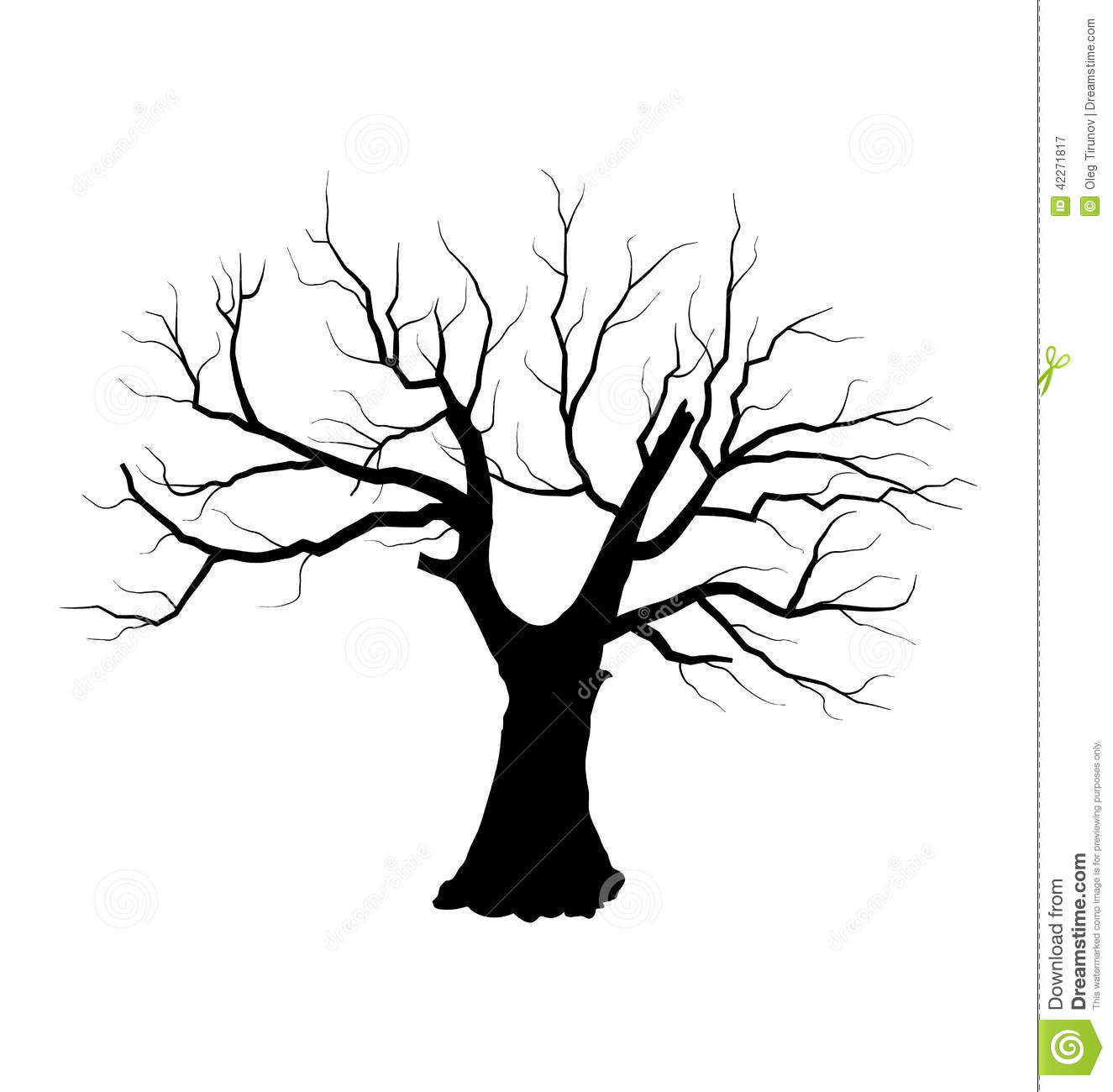 Illustration Sketch Of Dead Tree Without Leaves  Isolated On White