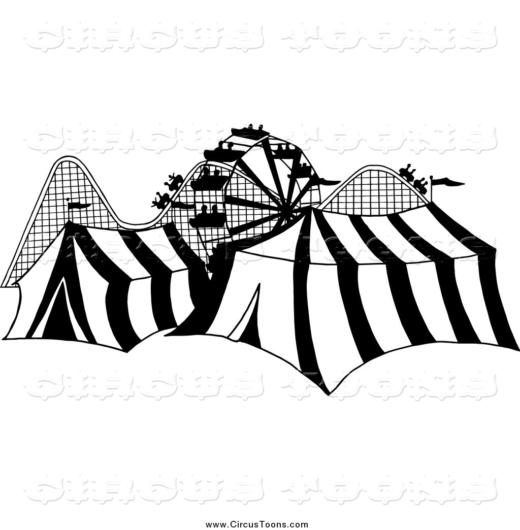 Larger Preview  Circus Clipart Of A Black And White Canival With Tents