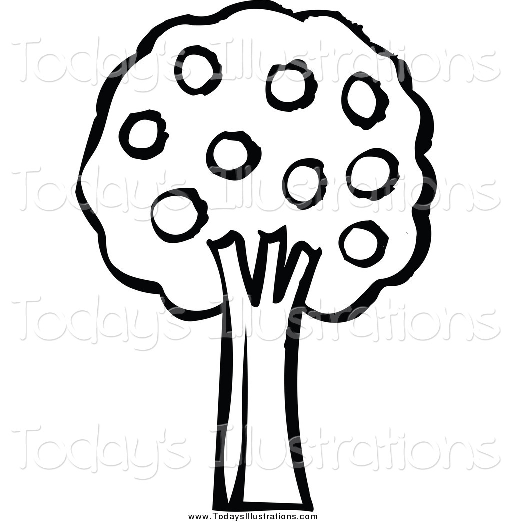 Larger Preview  Clipart Of A Black And White Tree With Fruit By Nl