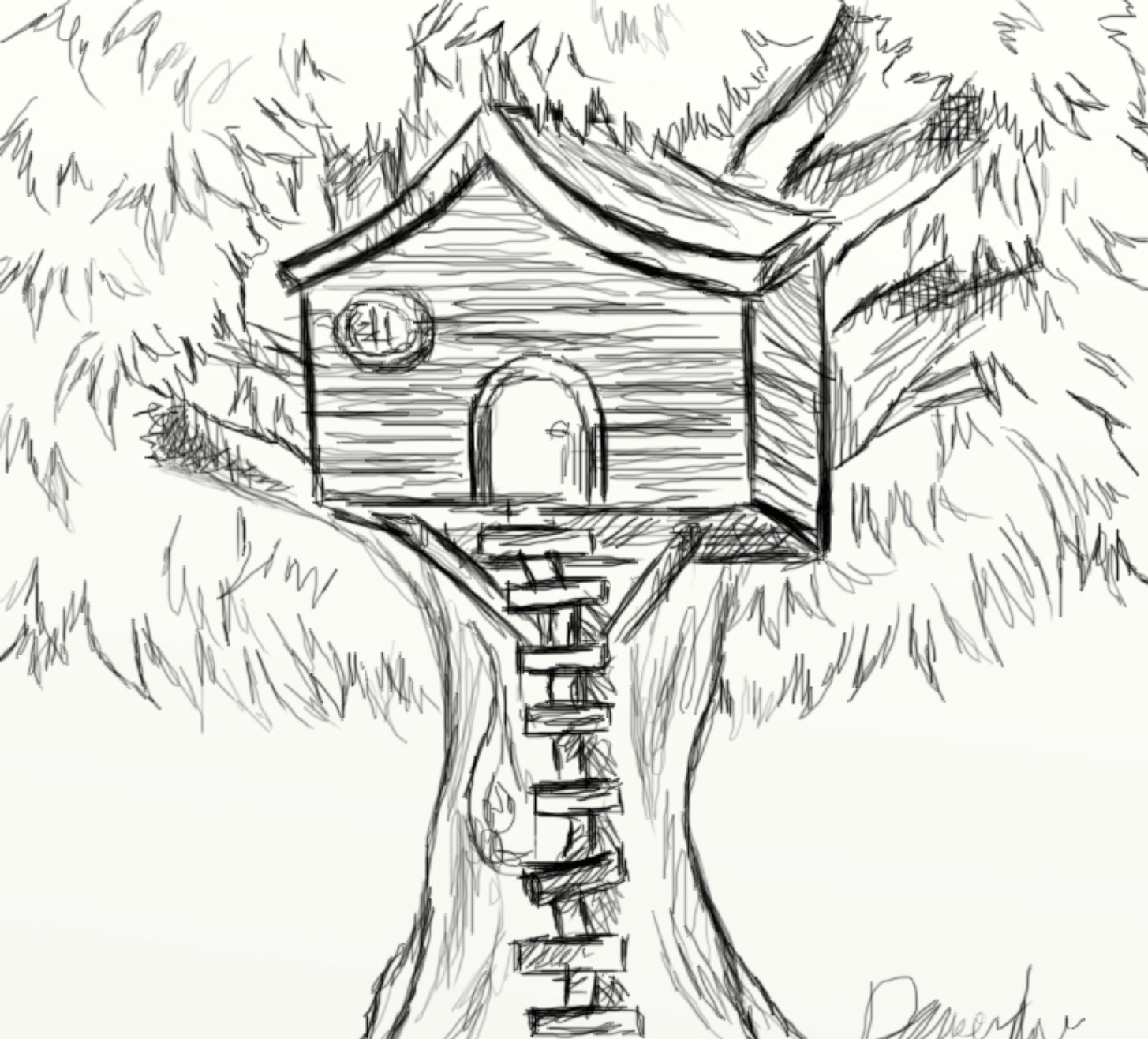 Sep 25 1024x926 Day  196 Tree House Sketch