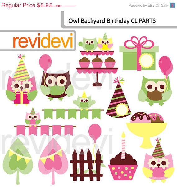 80  Off Sale Owl Backyard Birthday Clipart 07542 By Revidevi