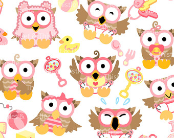 Baby Owls Clip Art Clipart Digital Clipart Baby Girl Owls Baby Shower