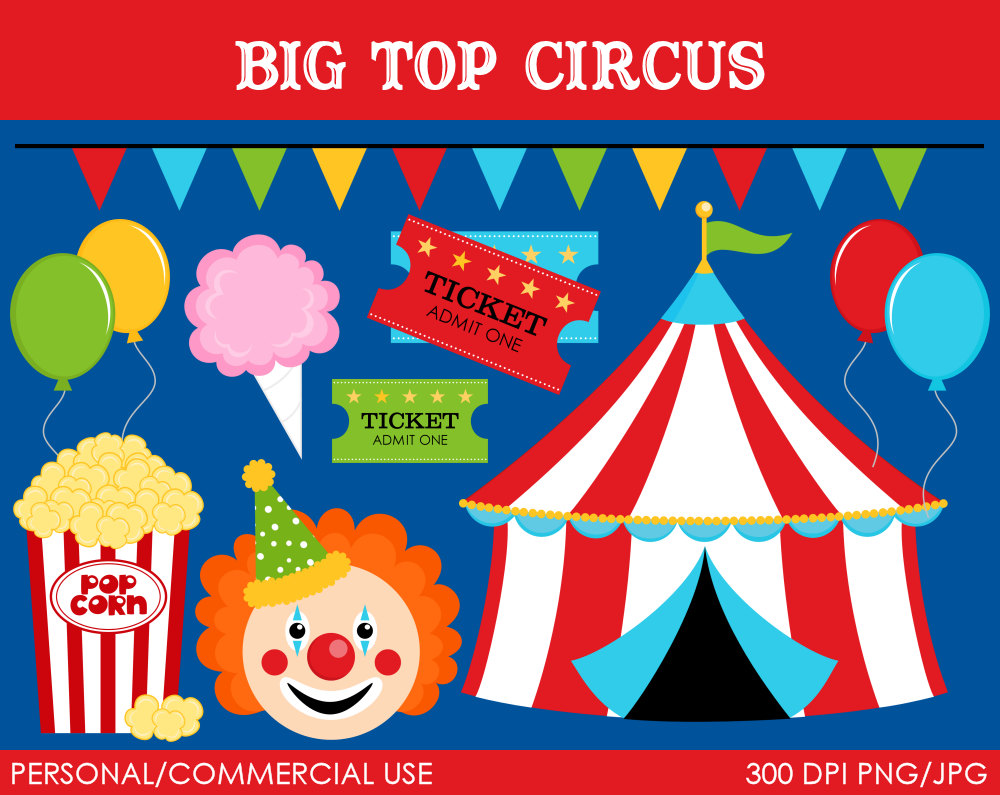 Big Top Circus Clipart Digital Clip Art Graphics By Mareetruelove