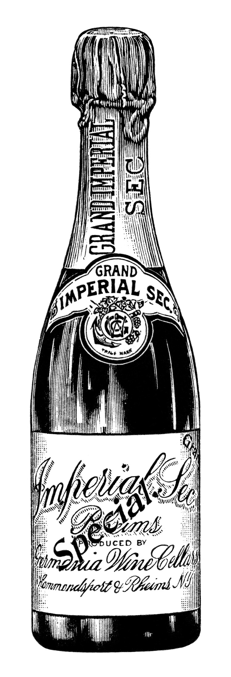 Black And White Clip Art Version Of The Bottle Of Champagne From The