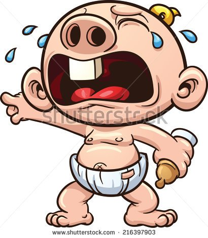 Cartoon Baby Crying  Vector Clip Art Illustration With Simple