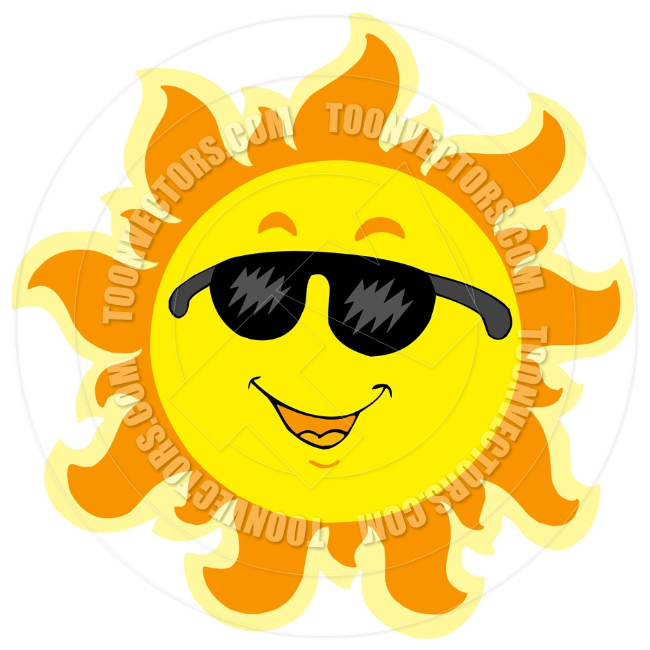 Cartoon Cute Summer Sun With Sunglasses By Clairev   Toon Vectors Eps