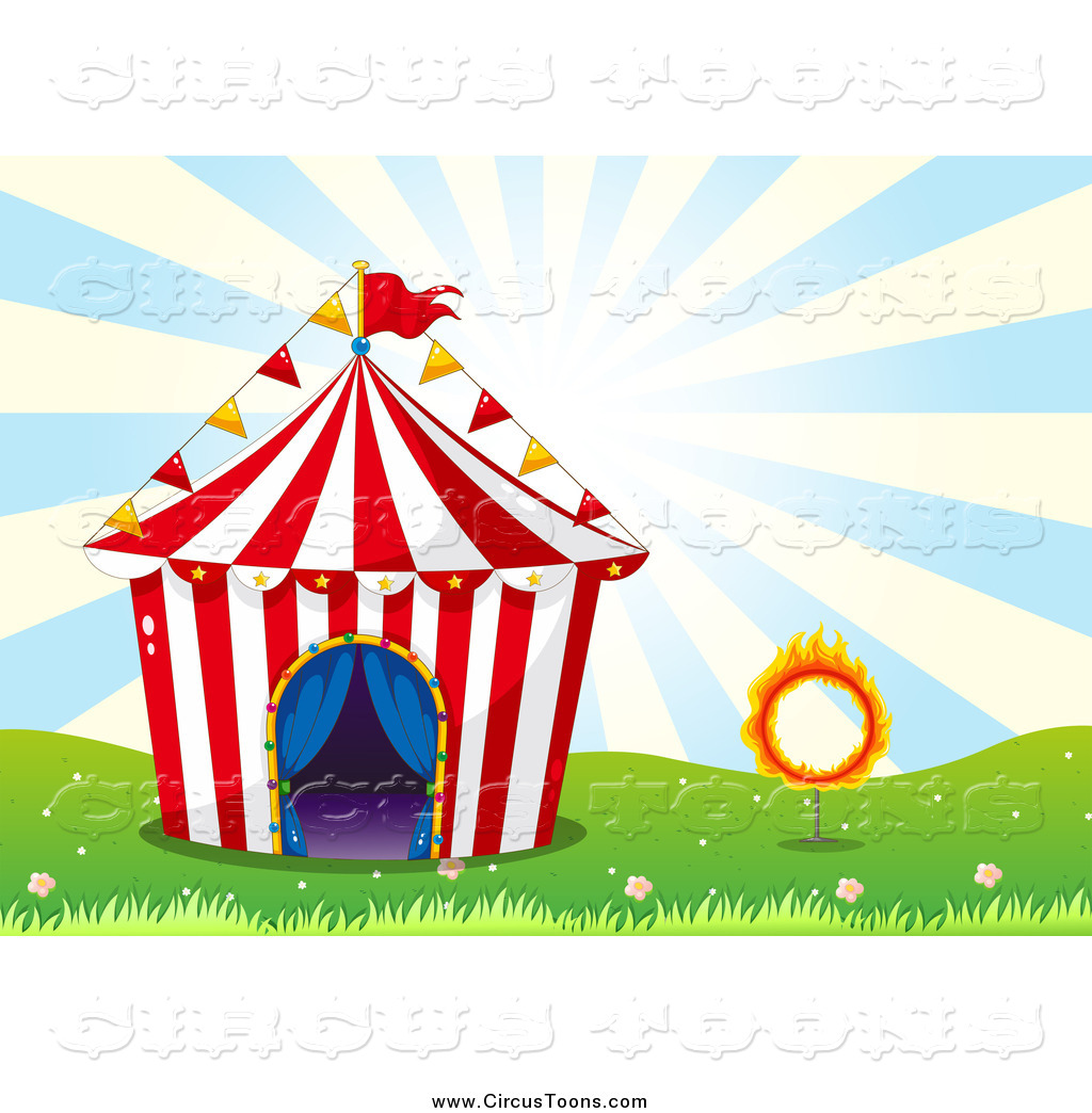 Circus Clipart Of A Big Top Tent With A Fiery Hoop Over Blue Rays By