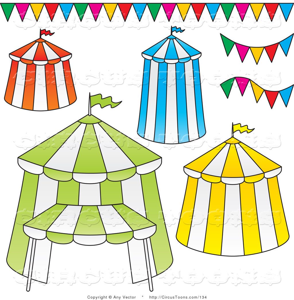 Circus Clipart Of A Digital Collage Of Four Big Top Circus Tents And