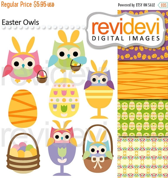 Clipart   Commercial Use Clip Art Digital   Easter Day Owls Clipart