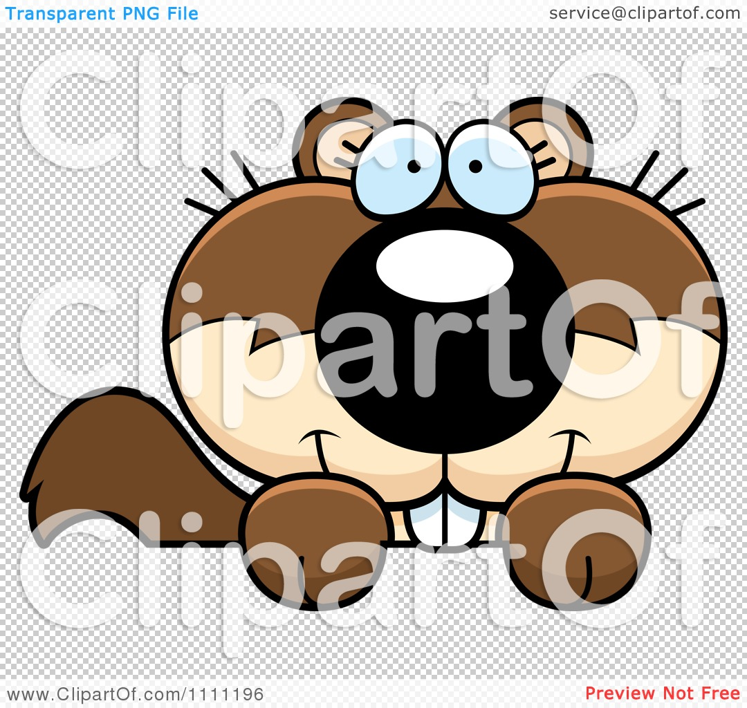 Clipart Cute Happy Baby Squirrel Hanging On A Sign   Royalty Free