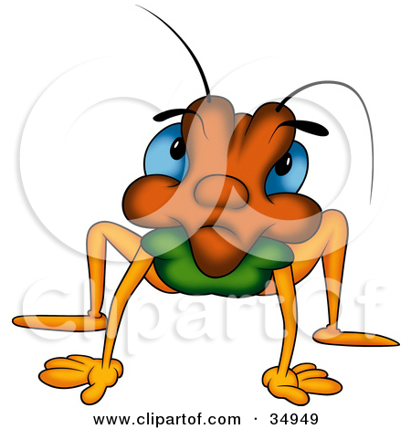 Clipart Outlined Beetle Student Writing At A Desk   Royalty Free