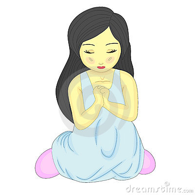 Cute Little Pretty Girl Kneeling And Praying Stock Images   Image